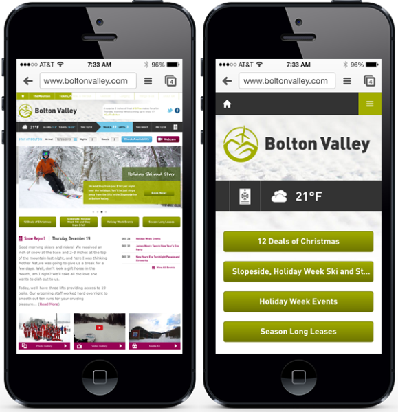 Bolton Valley website on an iPhone