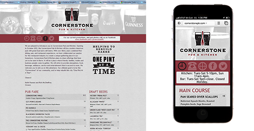 Responsive Website for Cornerstone Pub and Kitchen