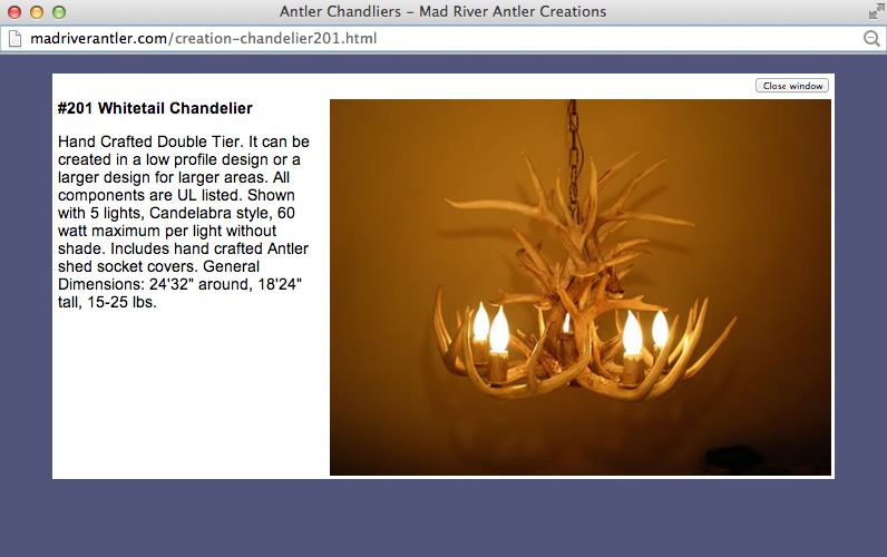 Pop up window of Antler Chandelier from Whitetail Deer antlers