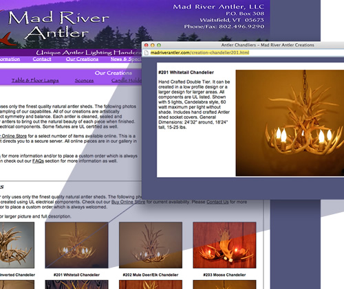 Mad River Antler old site with pop up windows