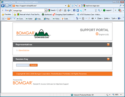 VickeryHill Remote Support Portal from Bomgar