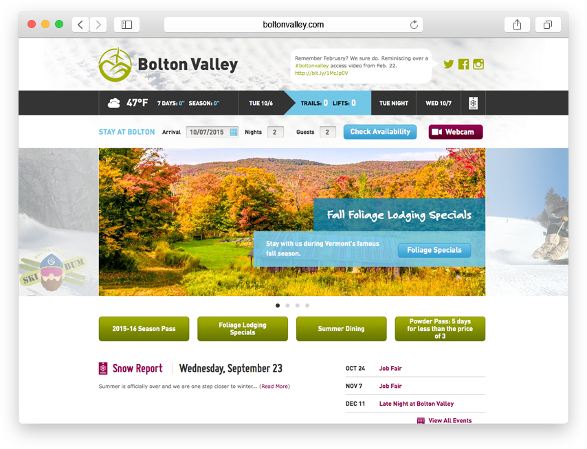 Bolton Valley website