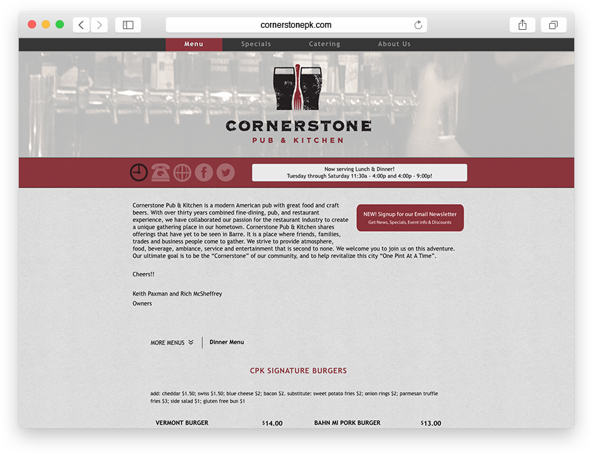 Cornerstone Pub & Kitchen website