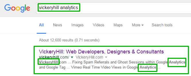"Google organic search results for our business name ""VickeryHill"" and ""analytics""."