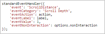 Scroll Distance Variable Array with category, action, label, and value for scroll depth tracking using GTM.