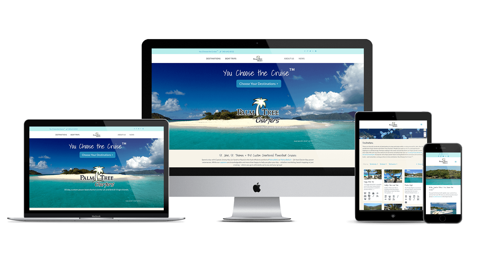 Palm Tree Charters website on multiple devices
