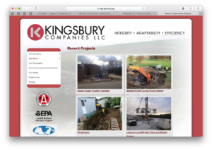 Kingsbury Companies' dated website in 2016