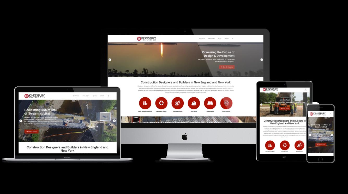 KingsburyCo website responsive on multiple screen sizes